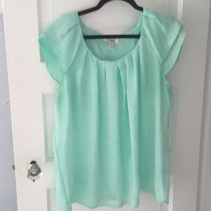 Mint green polyester (looks silky) blouse